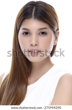 Beautiful woman portrait. Isolated on white background. - stock photo