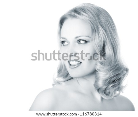 beautiful woman portrait, mid adult female face and shoulders closeup, toned light blue, isolated on white background