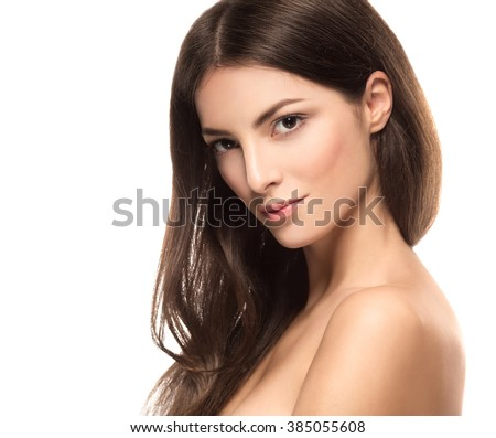 Beautiful woman portrait on a white background - stock photo
