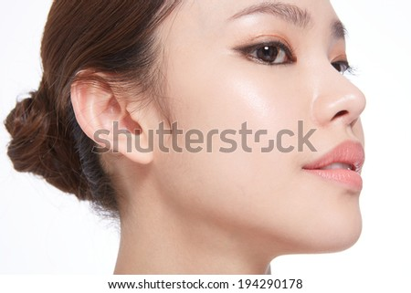 Beautiful woman portrait on white background - stock photo