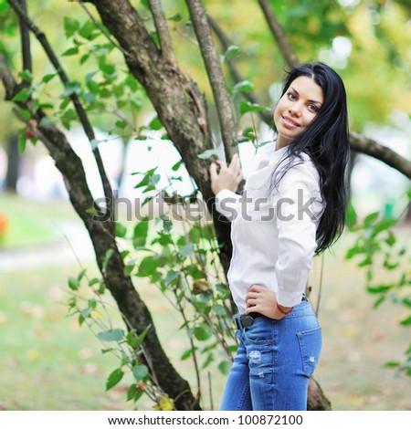 Beautiful woman portrait, outdoor shot - stock photo
