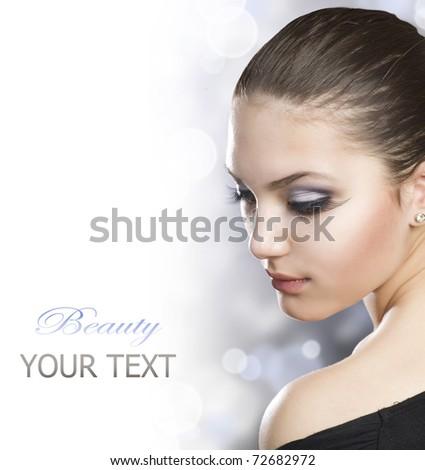 Beautiful Woman Portrait over white - stock photo