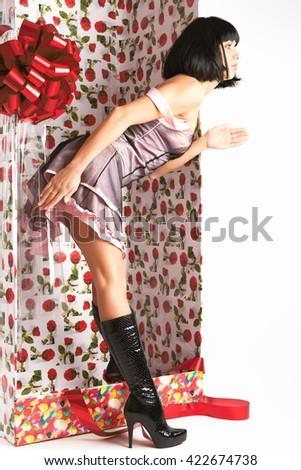 Beautiful woman posing like mannequin. - stock photo