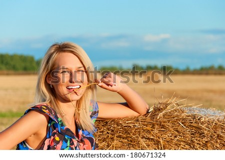 Beautiful woman  posing on a wheat bale in a field - stock photo