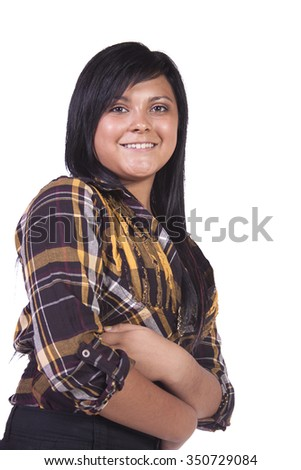 Beautiful Woman Posing with her arms crossed - stock photo