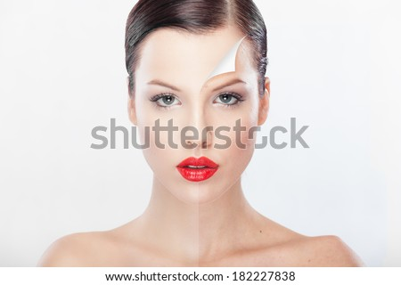 Beautiful woman presenting before and after retouching image. Beauty treatment. - stock photo