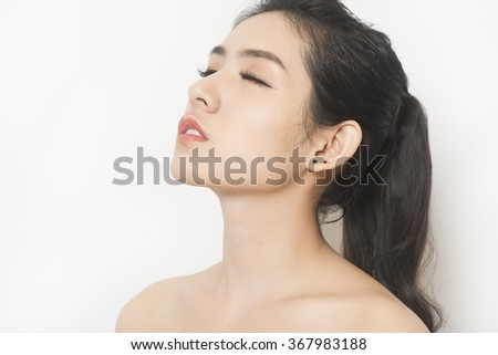 Beautiful woman profile with closed eyes isolated. Clean health skin face