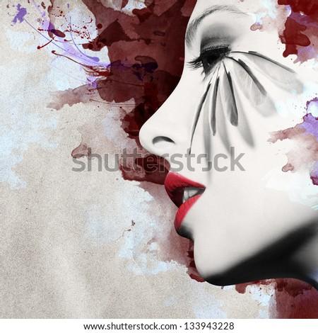 Beautiful woman profile with grunge background - stock photo
