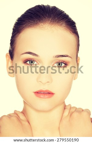 Beautiful woman ready for spa treatment - stock photo