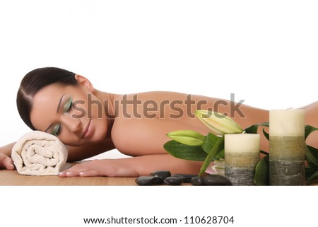 beautiful woman relaxing in spa. isolated on white - stock photo