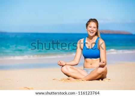 beautiful woman relaxing on the beach in Hawai - stock photo