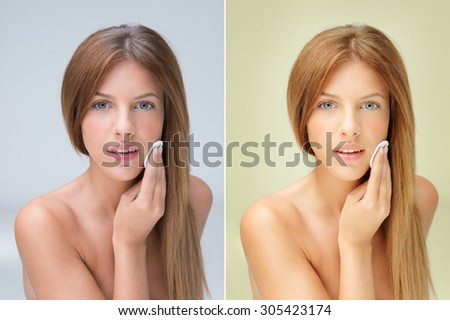 beautiful woman removing makeup with cotton bud before and after retouching - stock photo