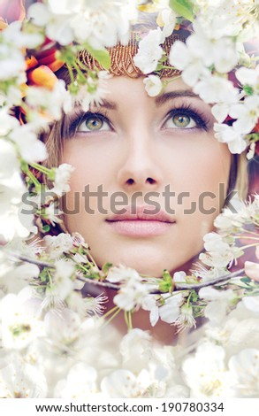 Beautiful woman's face - stock photo