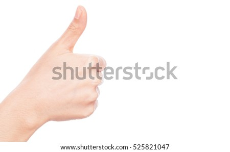 "beautiful Woman's hand gesturing ""thumbs up"" isolated on white background."