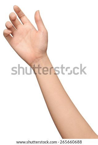beautiful woman's hand isolated on white background - stock photo