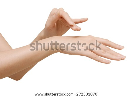 beautiful woman's hand isolated on white background with clipping path - stock photo