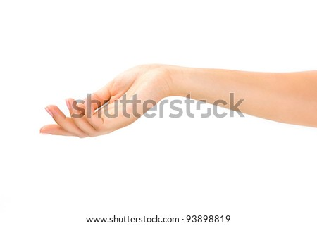 beautiful woman's hand on the white background