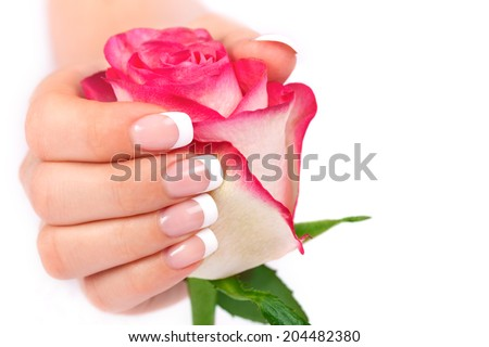 Beautiful woman's hand with french manicure holding rose on white background - stock photo