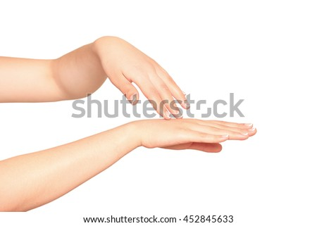 Beautiful woman's hands on the background