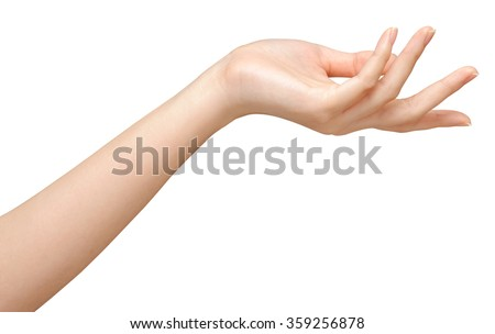 Beautiful woman's hands on the white background