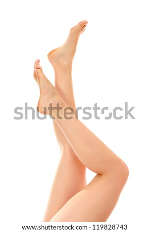 Beautiful woman's legs, isolated on white background