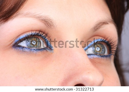 beautiful woman`s open eye