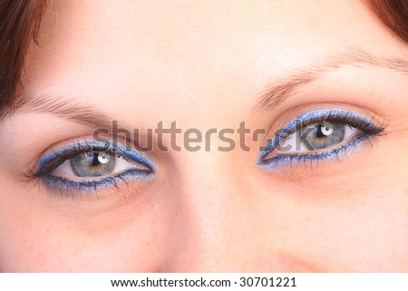 beautiful woman`s open eyes