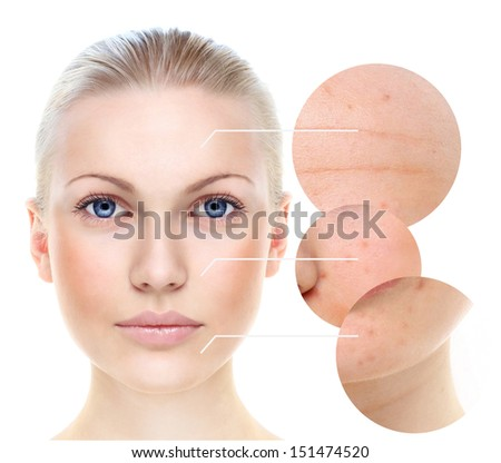 Beautiful woman's portrait isolated on white, skin care concept. - stock photo