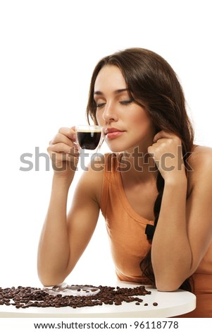 beautiful woman scenting on espresso coffee on white background - stock photo