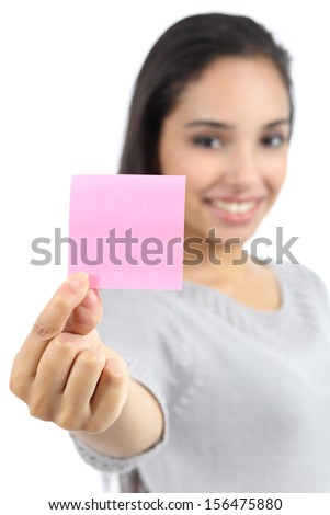 Beautiful woman showing a blank pink paper note isolated on a white background - stock photo