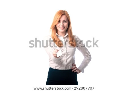 beautiful woman showing a business card