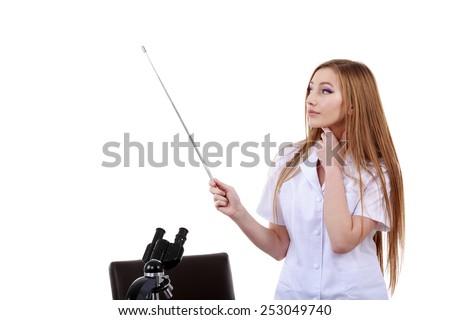 beautiful woman showing something science laboratory - stock photo