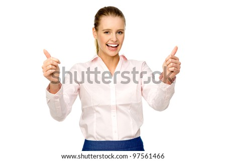 Beautiful woman showing thumbs up - stock photo
