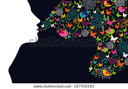 Beautiful woman silhouette profile with flowers, butterflies and birds composition. Season concept.