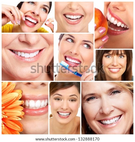 Beautiful woman smile and teeth collage. Dental health.