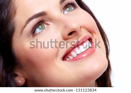 Beautiful woman smile. Dental health background. - stock photo
