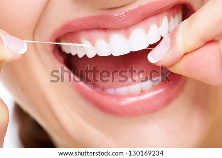 Beautiful woman smile. Dental health care clinic. - stock photo