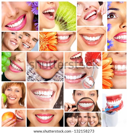 Beautiful woman smile. Dental health care collage.