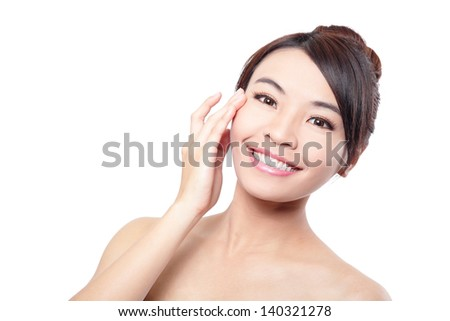 Beautiful woman smile face with clean face skin, and finger touch her eyes , concept for eye and skin care, isolated on white background, asian beauty - stock photo