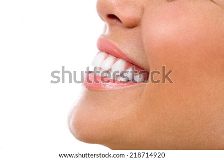Beautiful woman smile great healthy white teeth , isolated over white background - stock photo