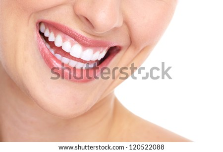 Beautiful woman smile isolated on white background. - stock photo