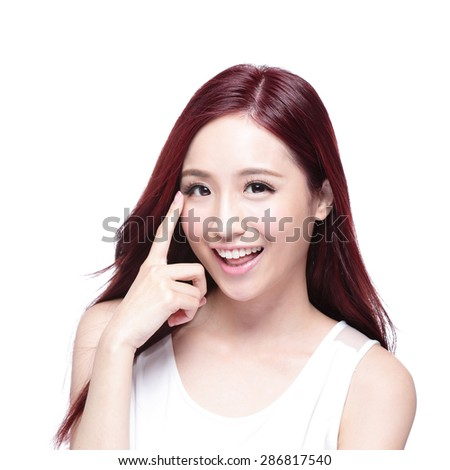 Beautiful Woman smile pointing her eye with health long straight hair, concept for health eye care,  asian beauty model - stock photo