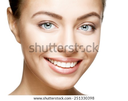 Beautiful woman smile. Teeth whitening. Dental care. - stock photo