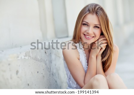 Beautiful woman smiling - stock photo