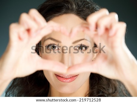 Beautiful woman smiling - close up. - stock photo