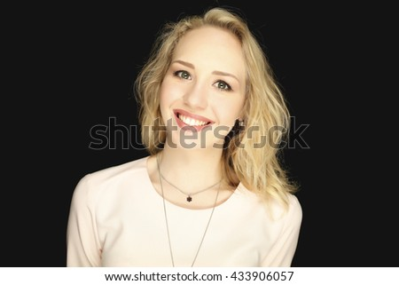 Beautiful woman smiling. Fashion photo, nice hair. Portrait of young lady with smile and healthy teeth.