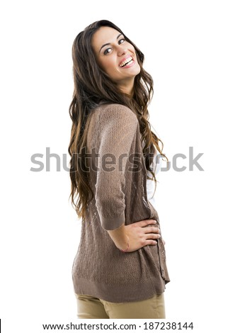 Beautiful woman smiling, isolated on white - stock photo