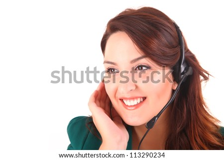 Beautiful woman smiling with a headset over white -  call center