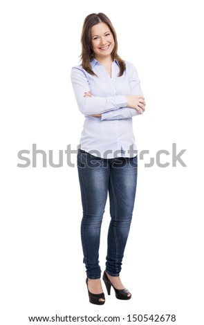 Beautiful woman smiling with hands folded, isolated over white background - stock photo