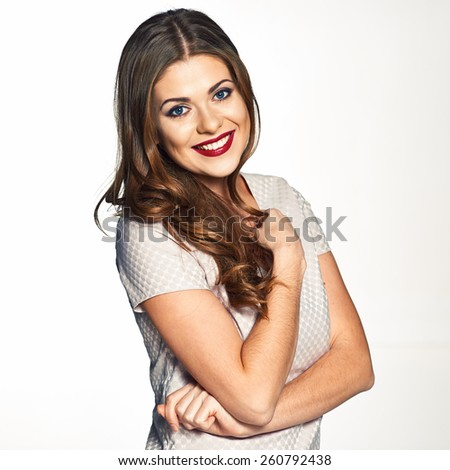Beautiful woman smiling with teeth. Isolated white background studio portrait.